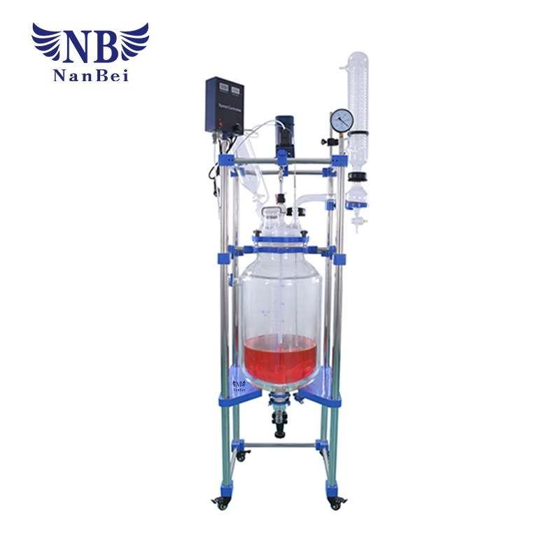 用于实验室的50L夹套玻璃反应器,双层玻璃反应器,与派热克斯反应器的混合罐