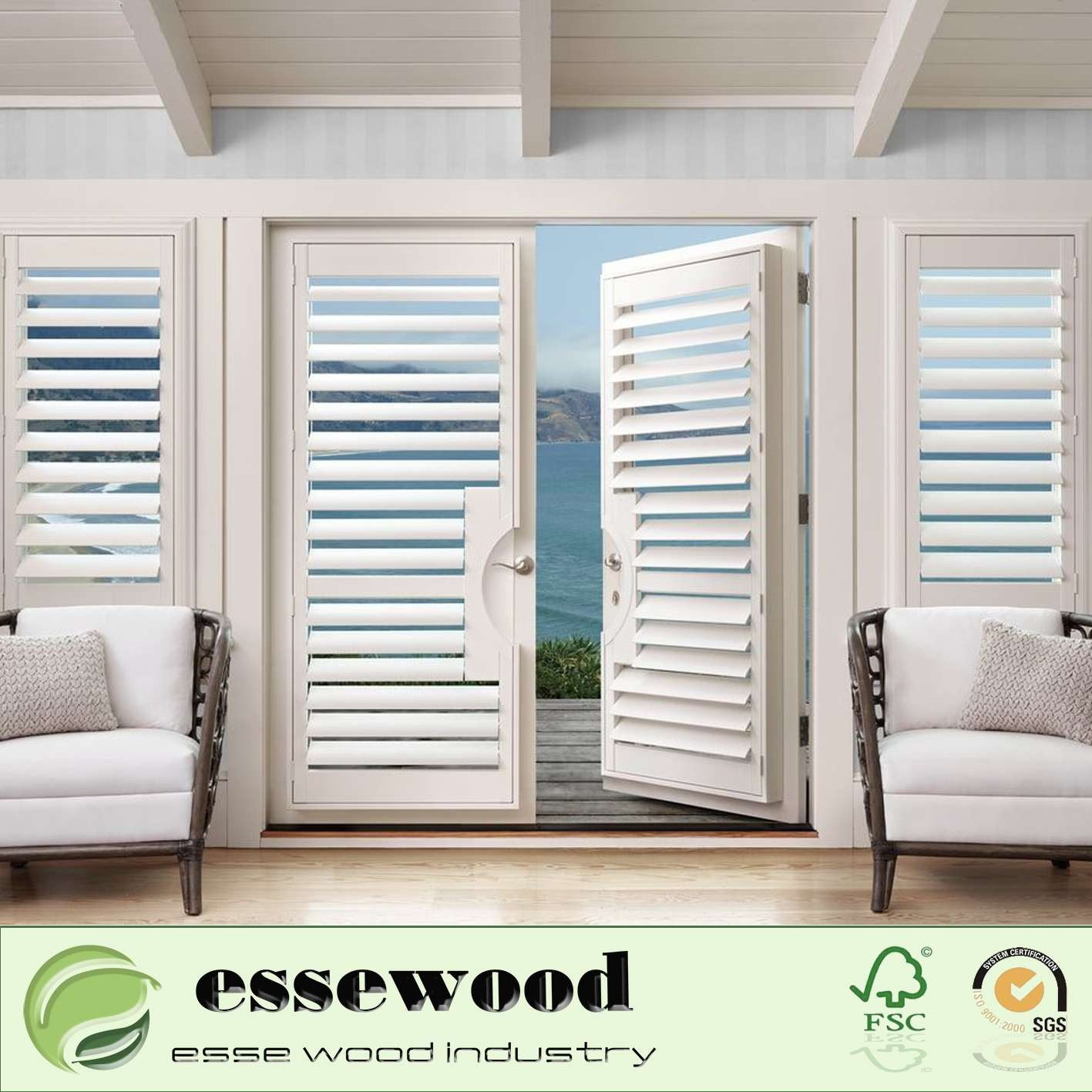 Color Customized Basswood Plantation Shutters Window Shutters for Wholesale