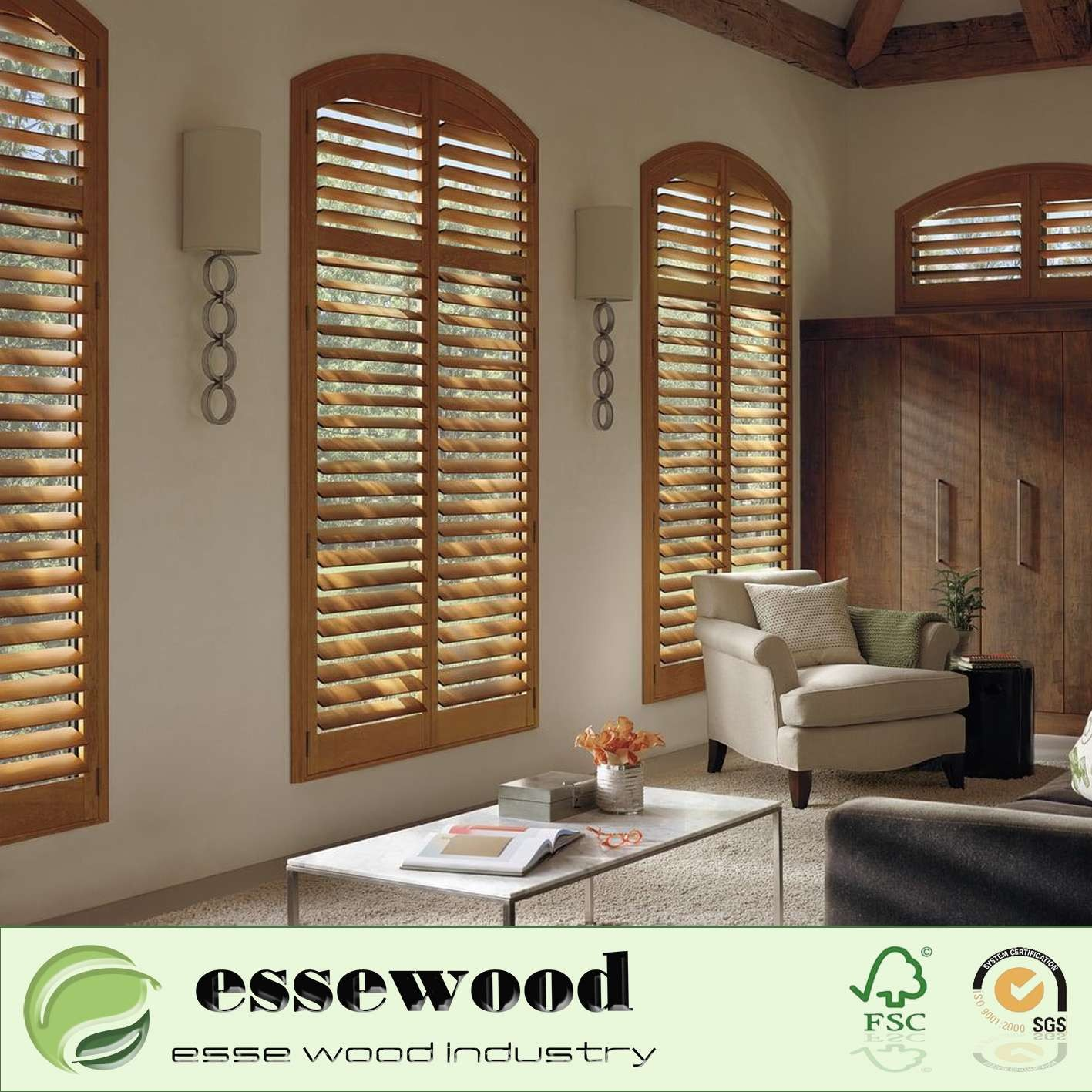 White Decorative Wood Plantation Shutters for Bedroom and House Dining Room Shutters